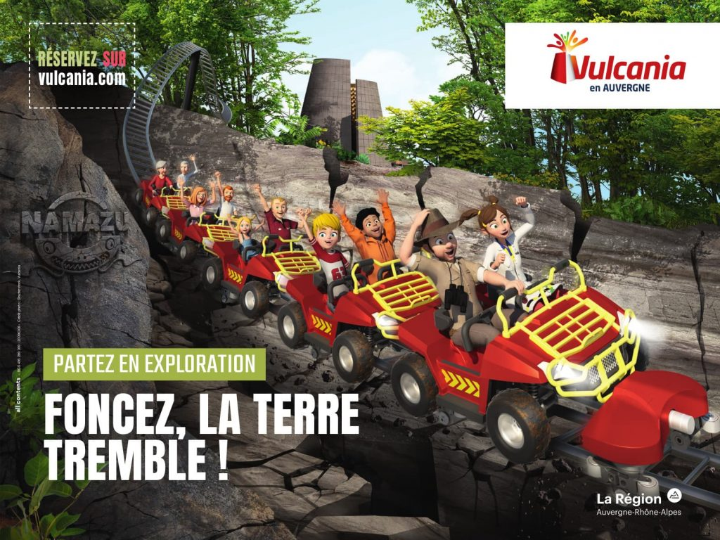 Affiche de l'attraction 2021 Namazu du Parc Vulcania à Saint-Ours