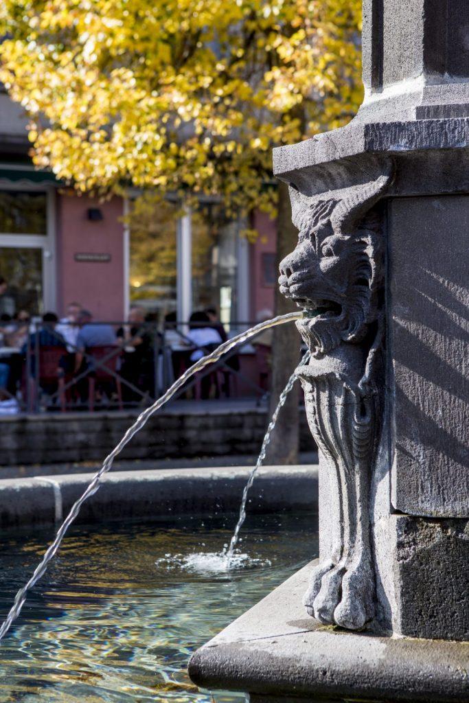 Fontaine aux lions cornus