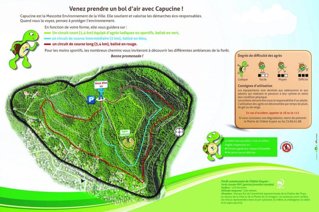 Plan des parcours de santé à Châtel-Guyon